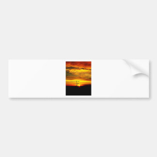 Sunrise silhouetting Cranes Bumper Sticker