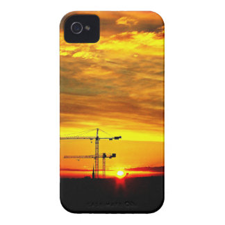 Sunrise silhouetting Cranes iPhone 4 Case