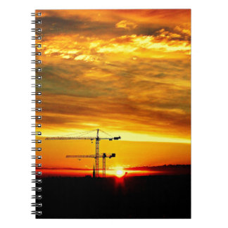 Sunrise silhouetting Cranes Notebook