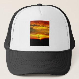 Sunrise silhouetting Cranes Trucker Hat
