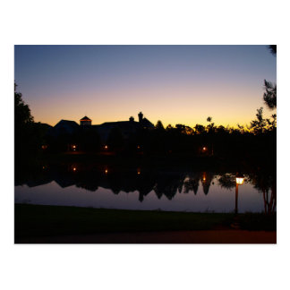 Sunrise Silouette In Orlando, Florida Over Rooftop Postcard