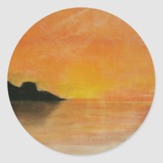 Sunrise Sketch Round Sticker