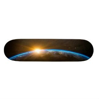 sunrise space galaxy skateboard deck
