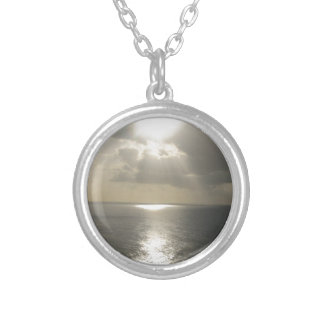 Sunrise Sunset Round Pendant Necklace
