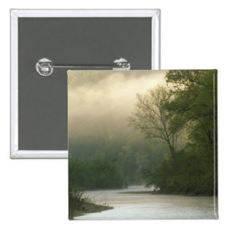 Sunrise through fog viewed from Red Bluff, 15 Cm Square Badge