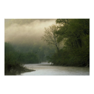 Sunrise through fog viewed from Red Bluff, Poster