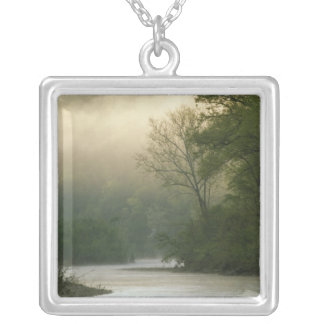 Sunrise through fog viewed from Red Bluff, Square Pendant Necklace