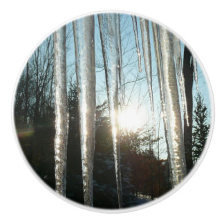 Sunrise Through Icicles Winter Nature Photography Ceramic Knob