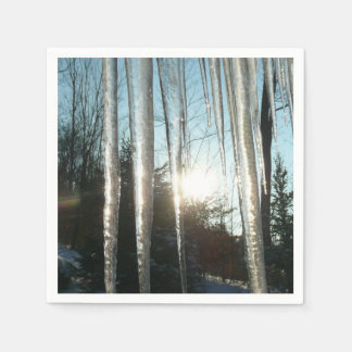 Sunrise Through Icicles Winter Nature Photography Disposable Napkins