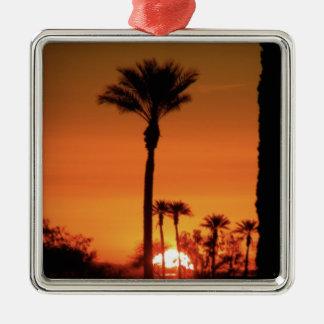 Sunrise Tree Silver-Colored Square Decoration