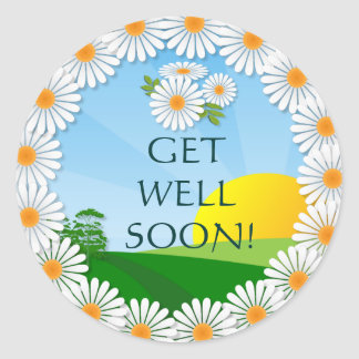 Sunrise with Daisy Border ~ Get Well Sticker