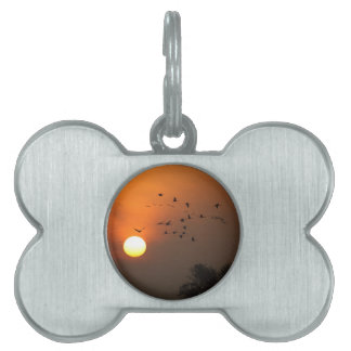 Sunrise with flocks of flying cranes pet ID tag