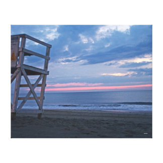 Sunrise with Lifeguard Stand Canvas Print