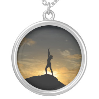 Sunrise Yoga Silver Plated Necklace