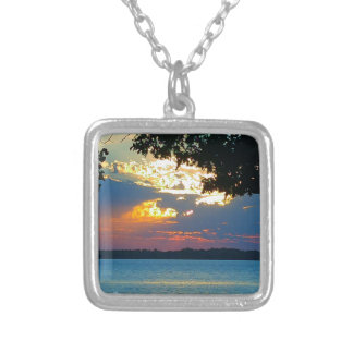 Sunset Ablaze Square Pendant Necklace