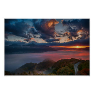 Sunset above the clouds in Japan Poster