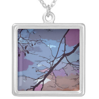 Sunset Abstract Square Pendant Necklace