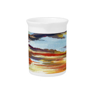 Sunset Acrylic Painting Pitcher