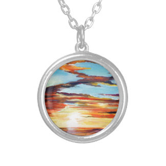 Sunset Acrylic Painting Silver Plated Necklace