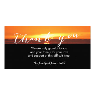 Sunset After Funeral Memorial Thank You Personalised Photo Card