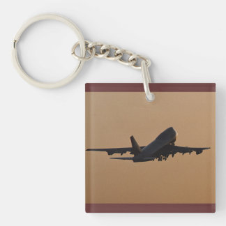 Sunset airliner Single-Sided square acrylic keychain