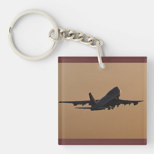 Sunset airliner acrylic key chain