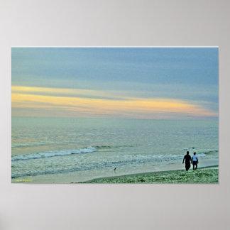 Sunset Along Seashore Poster