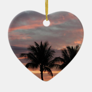 Sunset and palm trees ceramic ornament