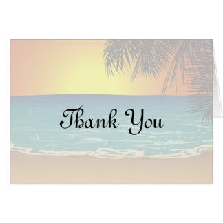 Sunset And Palm Trees Thank You Card