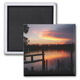 Sunset And Pier Magnet