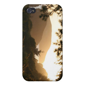 sunset and sea stacks iPhone 4 case