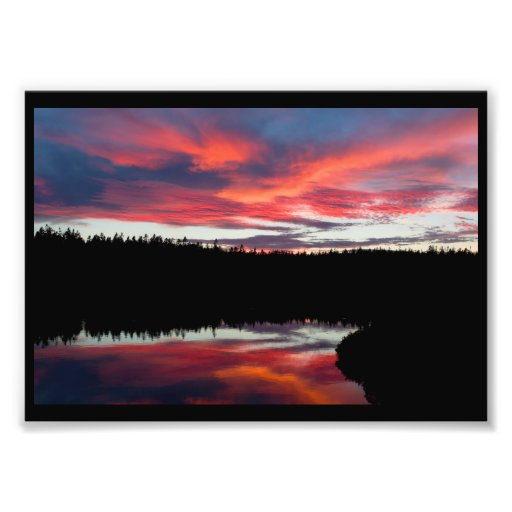 Sunset and Seawall Pond Acadia National Park Photographic Print