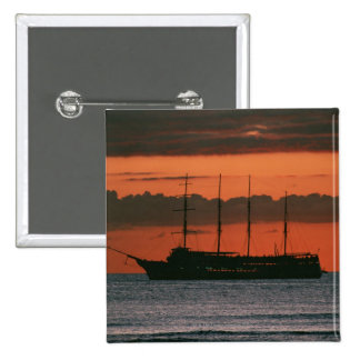 Sunset and Ship 15 Cm Square Badge
