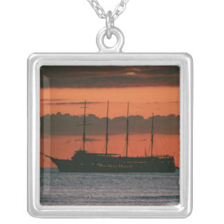 Sunset and Ship Silver Plated Necklace
