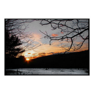 Sunset and Snowy Field Poster