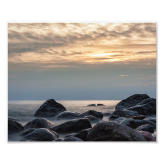 Sunset and stones on the Baltic Sea coast Photograph