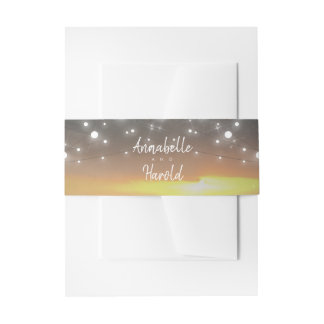 Sunset and String of Lights Wedding Invitation Belly Band