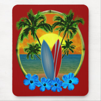 Sunset And Surfboards Mouse Pad