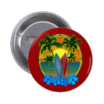 Sunset And Surfboards Pinback Buttons