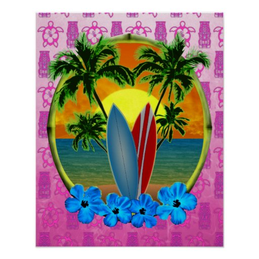 Sunset And Surfboards Print