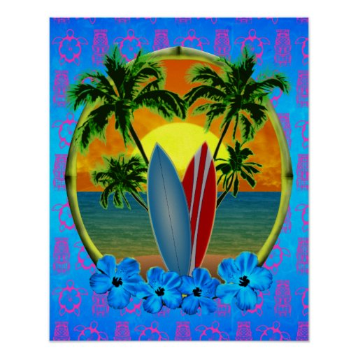 Sunset And Surfboards Posters