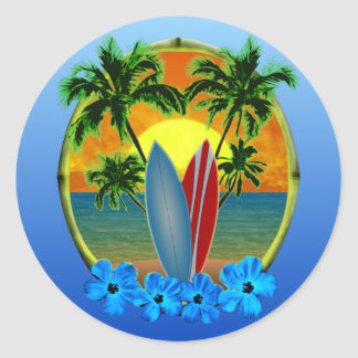Sunset And Surfboards Round Sticker