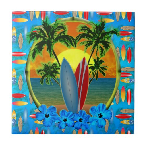 Sunset And Surfboards Ceramic Tile