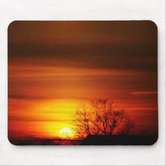 Sunset and tree mouse pad