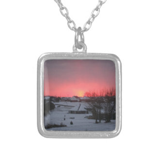 Sunset and Village Square Pendant Necklace