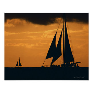 Sunset and Yacht 2 Print