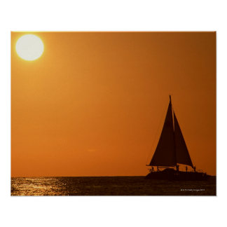 Sunset and Yacht Print