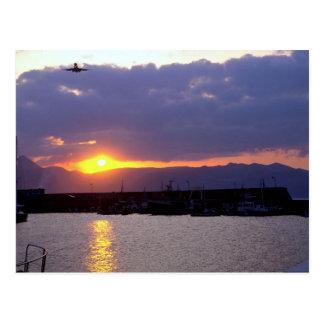 Sunset approach over Crete Harbor Postcard