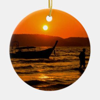 Sunset at Ao Nang beach Ceramic Ornament