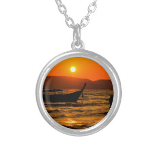 Sunset at Ao Nang beach Silver Plated Necklace